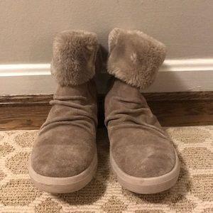 Grey fur booties